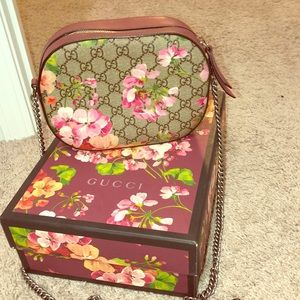 Gucci Crossbody GG Supreme Blooms Mini Brown/Pink